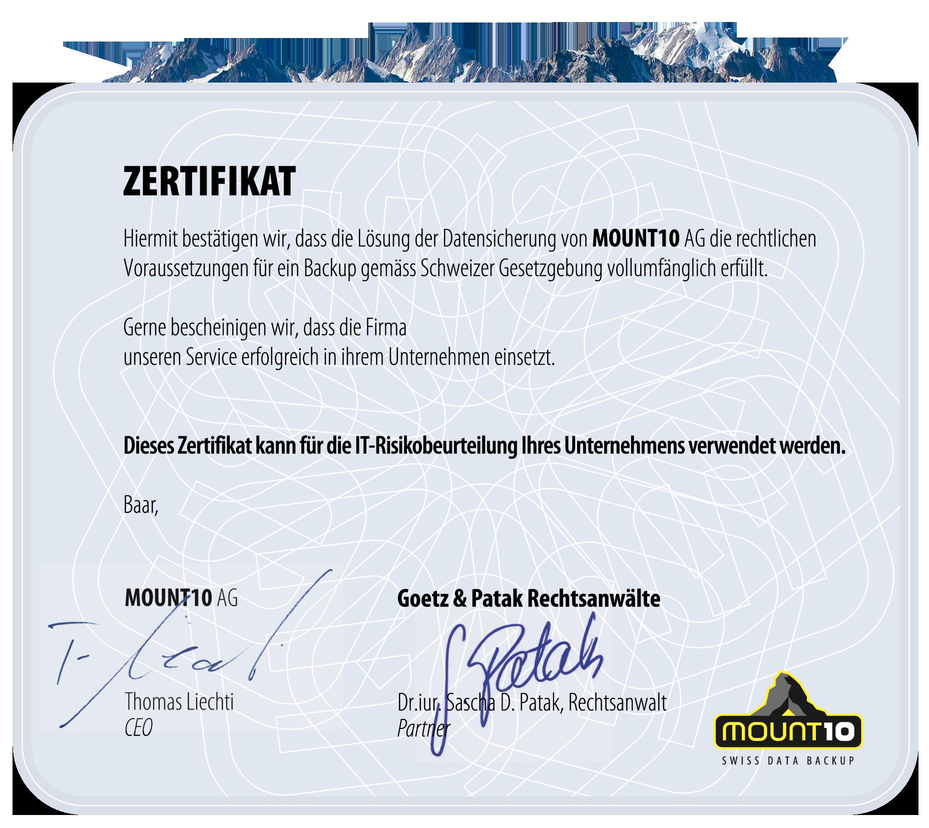 M10-Zertifikat